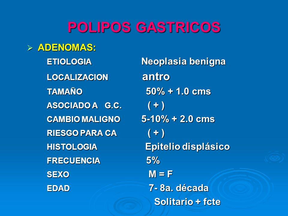 POLIPOS GASTRICOS ADENOMAS: Solitario + fcte