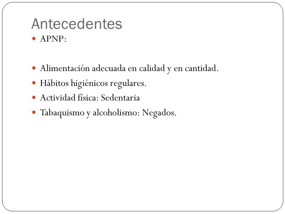 Antecedentes APNP: Alimentación adecuada en calidad y en cantidad.