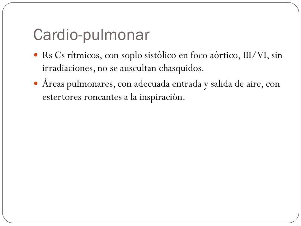 Cardio-pulmonar Rs Cs rítmicos, con soplo sistólico en foco aórtico, III/VI, sin irradiaciones, no se auscultan chasquidos.