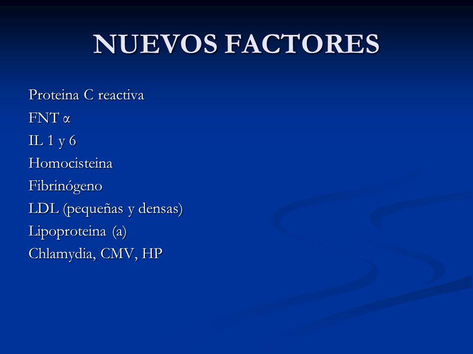 NUEVOS FACTORES Proteina C reactiva FNT α IL 1 y 6 Homocisteina