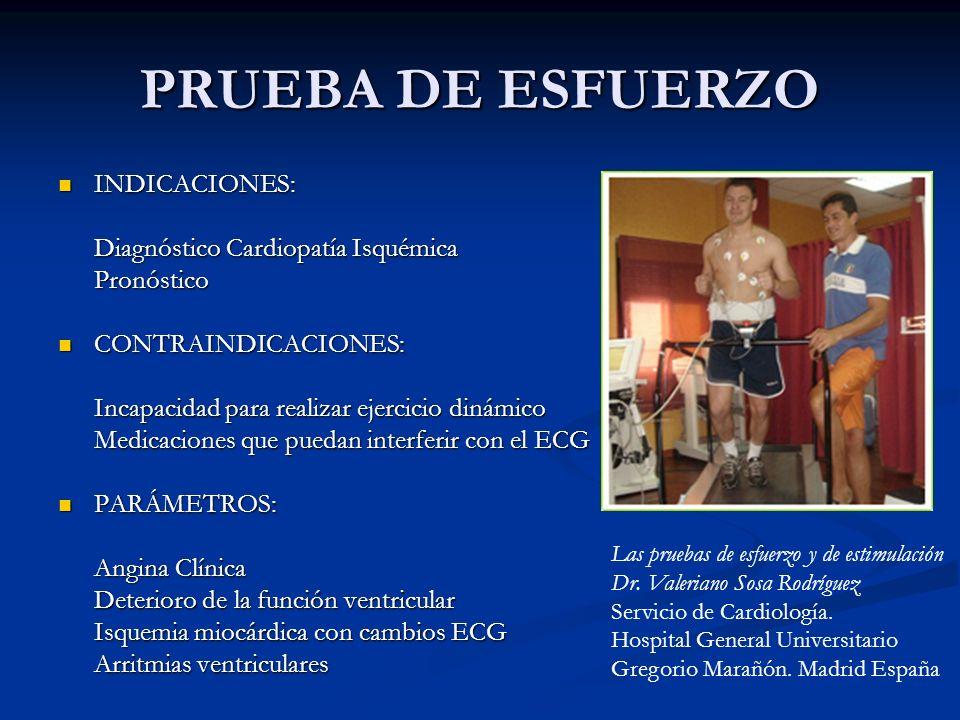 PRUEBA DE ESFUERZO INDICACIONES: Diagnóstico Cardiopatía Isquémica