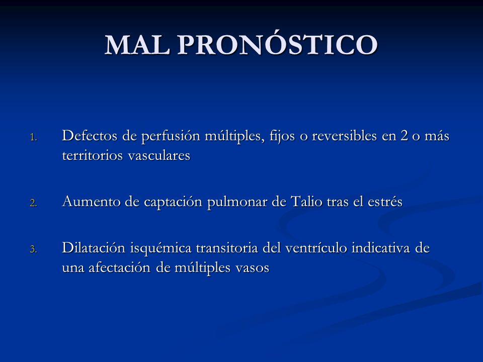 MAL PRONÓSTICO Defectos de perfusión múltiples, fijos o reversibles en 2 o más territorios vasculares.