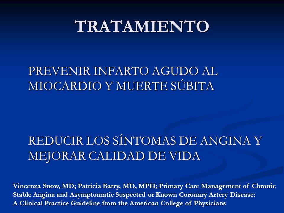 TRATAMIENTO PREVENIR INFARTO AGUDO AL MIOCARDIO Y MUERTE SÚBITA