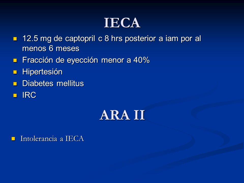 IECA 12.5 mg de captopril c 8 hrs posterior a iam por al menos 6 meses. Fracción de eyección menor a 40%