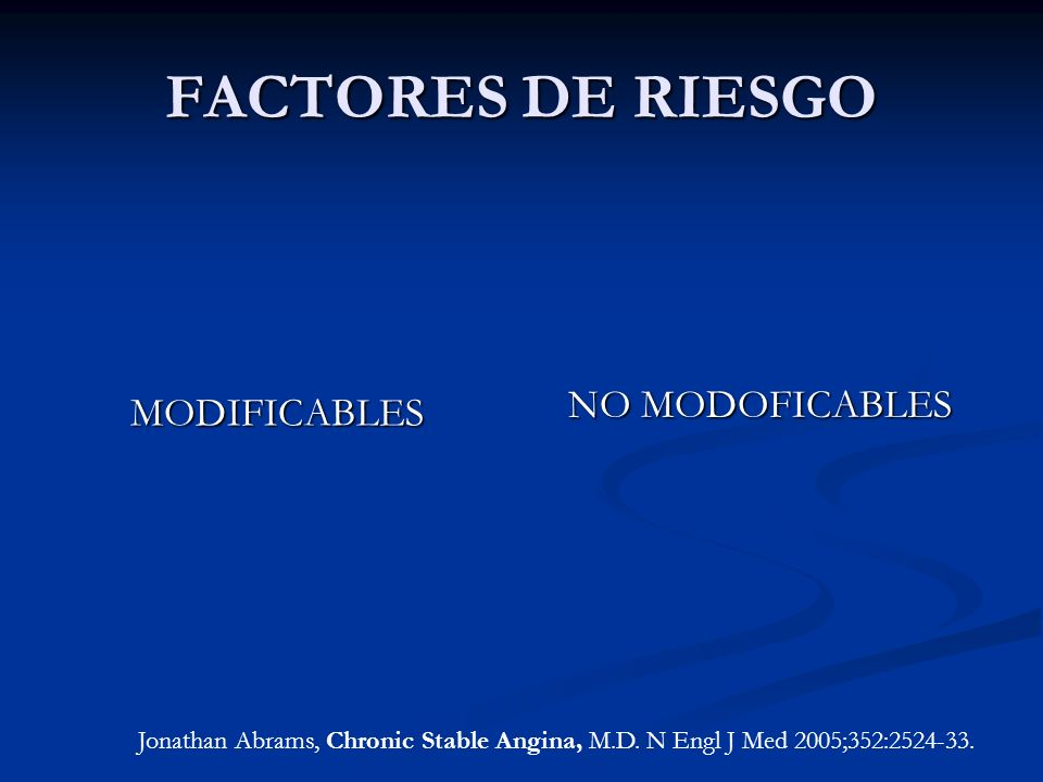 FACTORES DE RIESGO NO MODOFICABLES MODIFICABLES