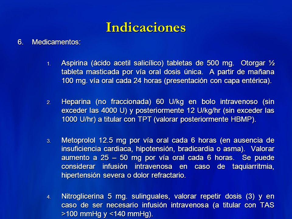 Indicaciones 6. Medicamentos: