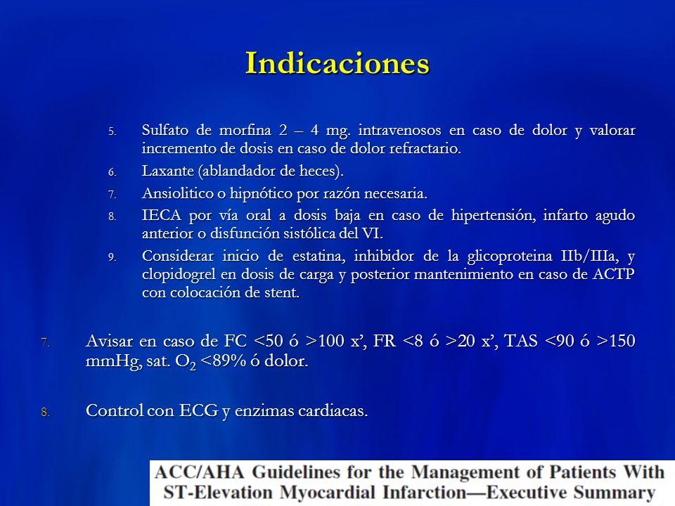 Indicaciones Sulfato de morfina 2 – 4 mg. intravenosos en caso de dolor y valorar incremento de dosis en caso de dolor refractario.