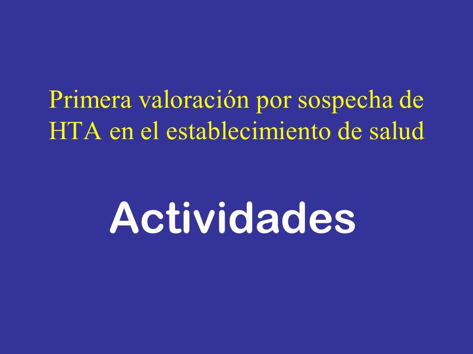 Primera valoración por sospecha de HTA en el establecimiento de salud