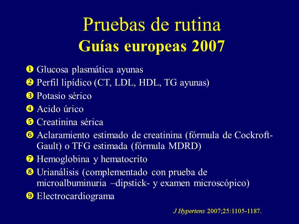 Pruebas de rutina Guías europeas 2007