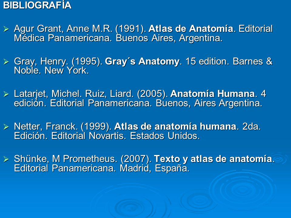 BIBLIOGRAFÍA Agur Grant, Anne M.R. (1991). Atlas de Anatomía. Editorial Médica Panamericana. Buenos Aires, Argentina.