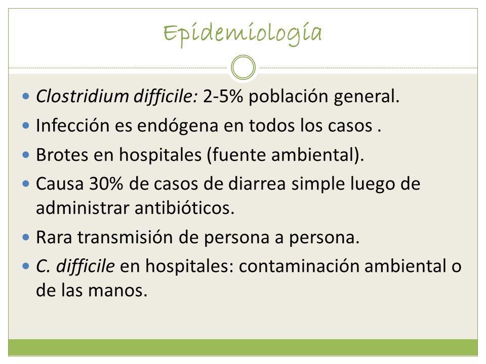 Epidemiología Clostridium difficile: 2-5% población general.