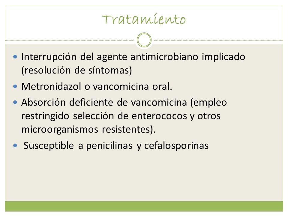 Tratamiento Interrupción del agente antimicrobiano implicado (resolución de síntomas) Metronidazol o vancomicina oral.