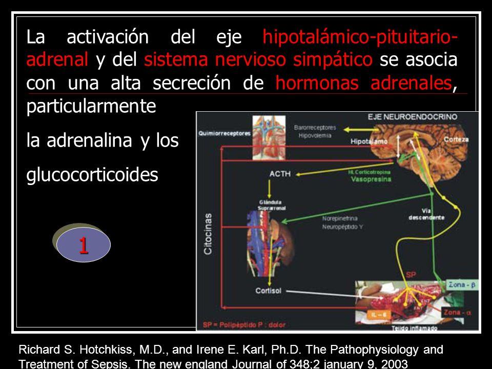 La activación del eje hipotalámico-pituitario-adrenal y del sistema nervioso simpático se asocia con una alta secreción de hormonas adrenales, particularmente