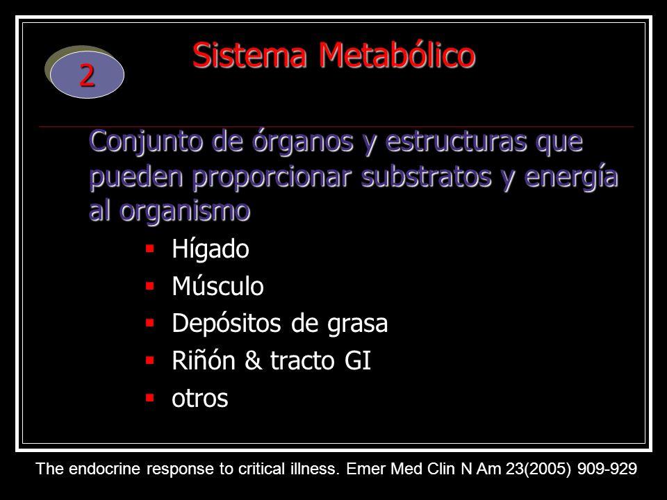Sistema Metabólico 2. Conjunto de órganos y estructuras que pueden proporcionar substratos y energía al organismo.