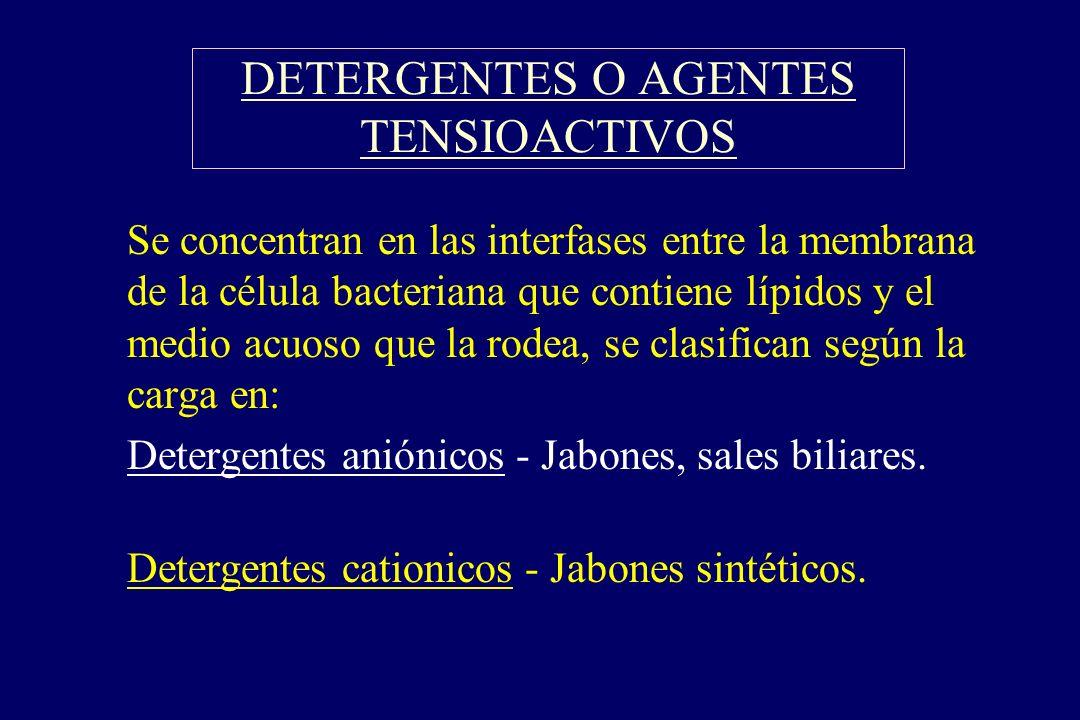 DETERGENTES O AGENTES TENSIOACTIVOS
