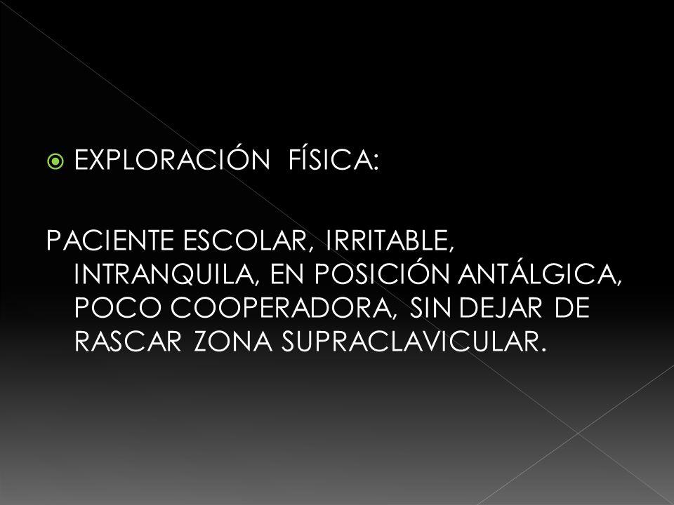 EXPLORACIÓN FÍSICA: PACIENTE ESCOLAR, IRRITABLE, INTRANQUILA, EN POSICIÓN ANTÁLGICA, POCO COOPERADORA, SIN DEJAR DE RASCAR ZONA SUPRACLAVICULAR.