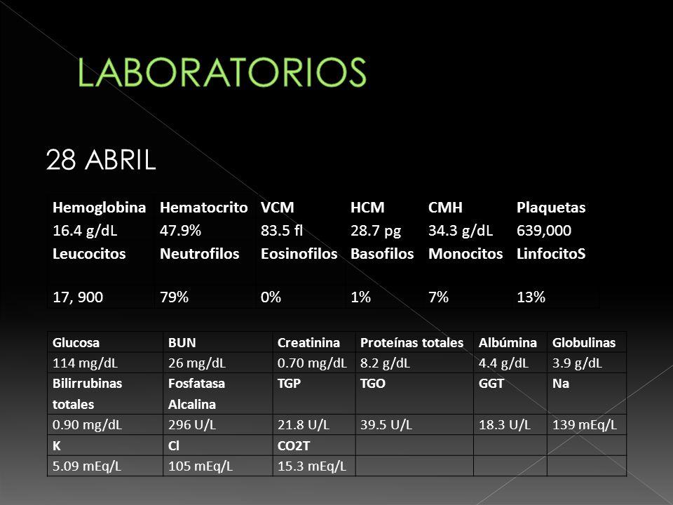 LABORATORIOS 28 ABRIL Hemoglobina Hematocrito VCM HCM CMH Plaquetas
