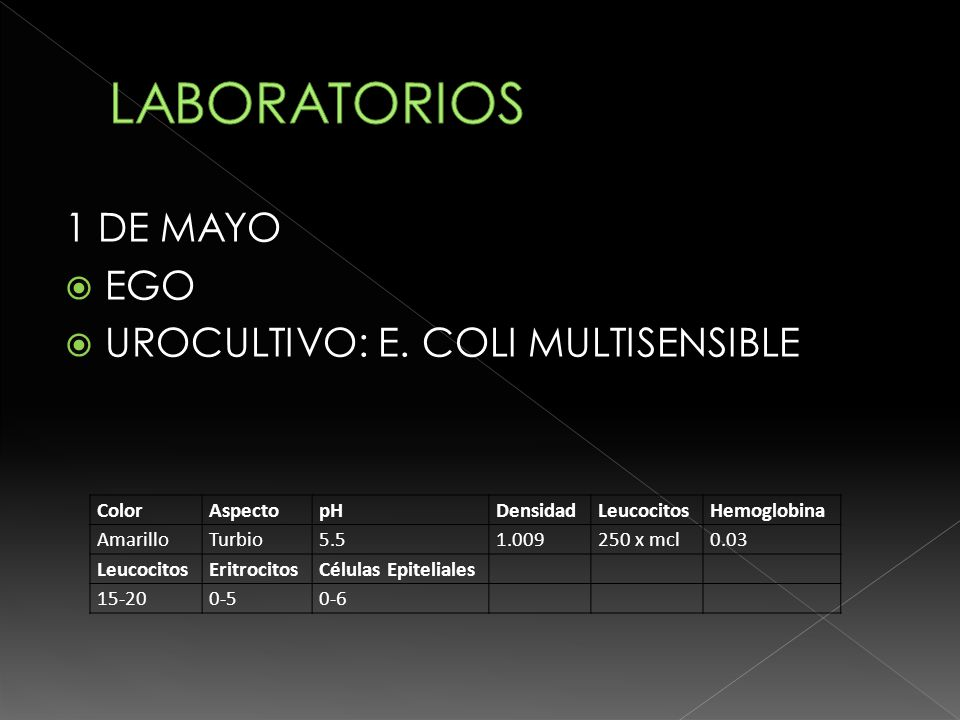 LABORATORIOS 1 DE MAYO EGO UROCULTIVO: E. COLI MULTISENSIBLE Color