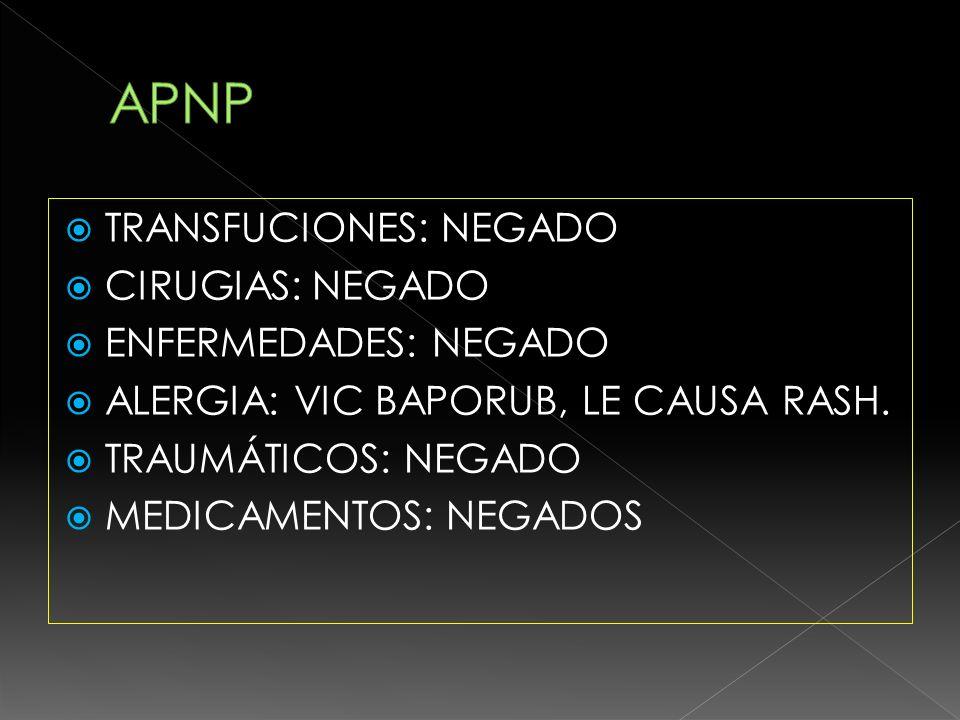 APNP TRANSFUCIONES: NEGADO CIRUGIAS: NEGADO ENFERMEDADES: NEGADO