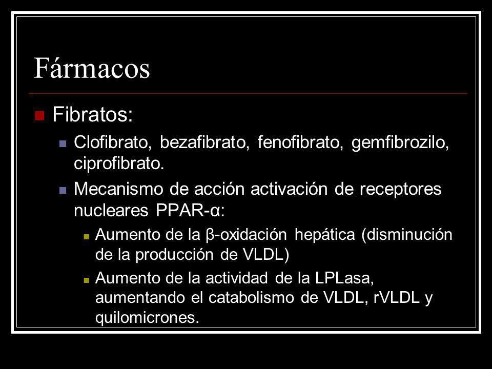 Fármacos Fibratos: Clofibrato, bezafibrato, fenofibrato, gemfibrozilo, ciprofibrato. Mecanismo de acción activación de receptores nucleares PPAR-α: