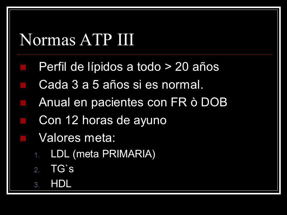 Normas ATP III Perfil de lípidos a todo > 20 años