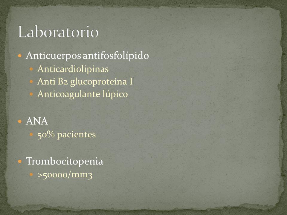 Laboratorio Anticuerpos antifosfolípido ANA Trombocitopenia