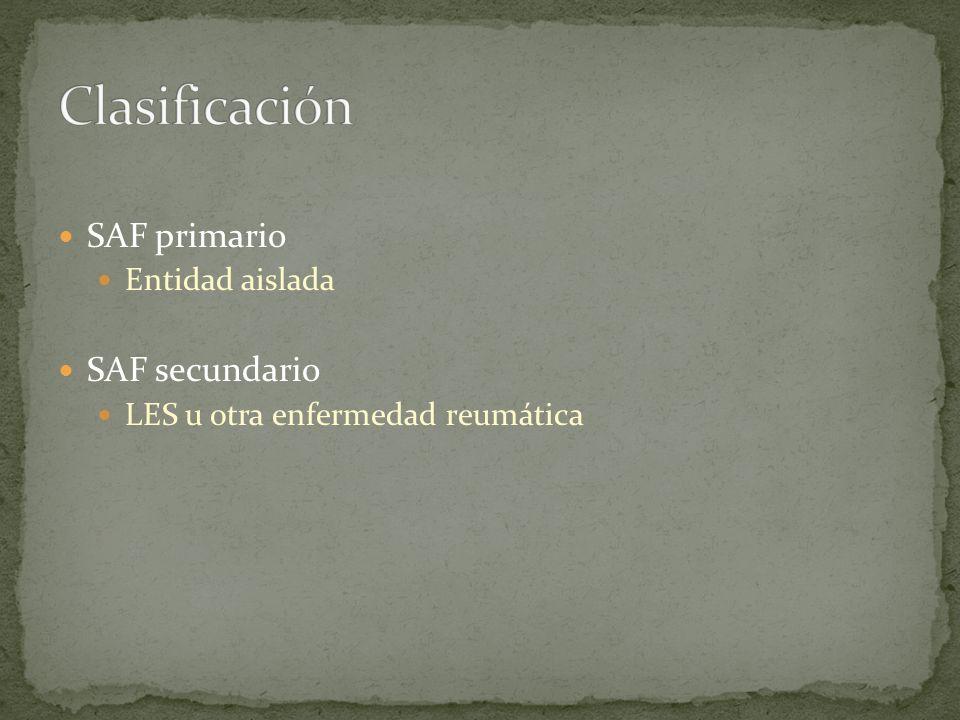 Clasificación SAF primario SAF secundario Entidad aislada