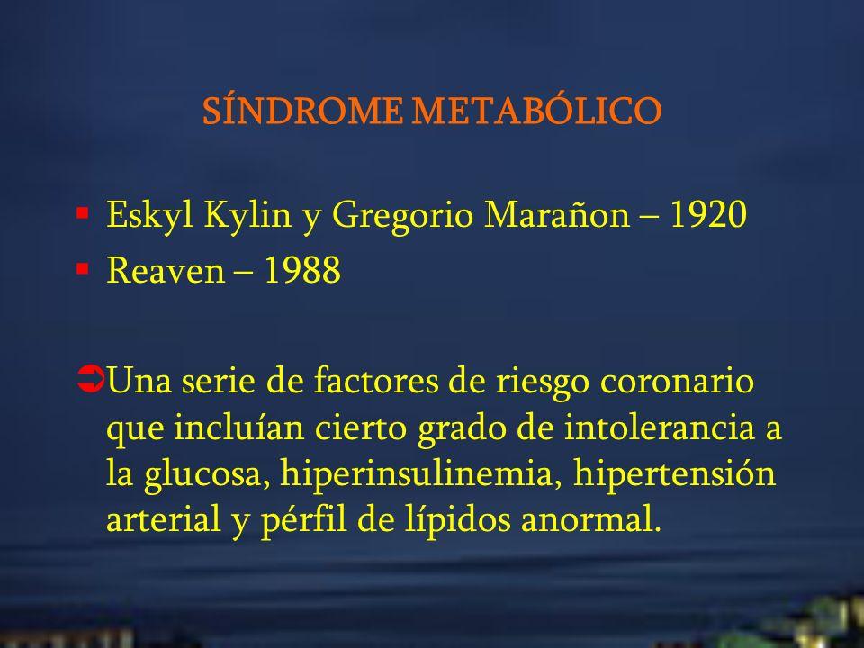SÍNDROME METABÓLICO Eskyl Kylin y Gregorio Marañon – 1920. Reaven – 1988.