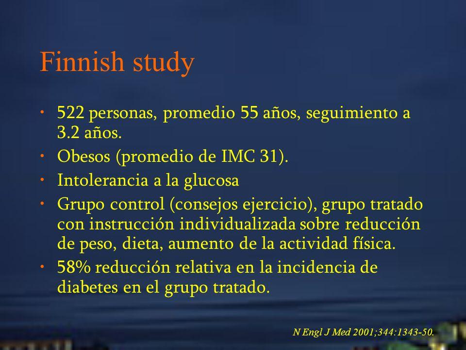 Finnish study 522 personas, promedio 55 años, seguimiento a 3.2 años.