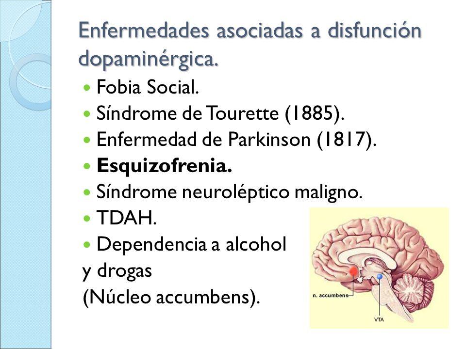 Enfermedades asociadas a disfunción dopaminérgica.