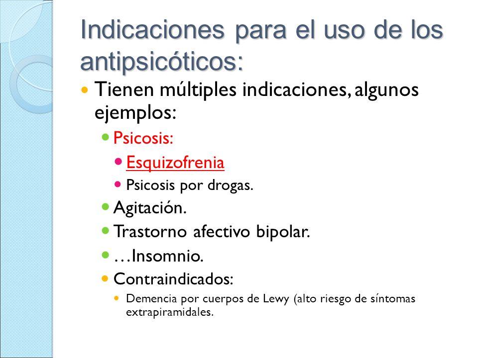 Indicaciones para el uso de los antipsicóticos: