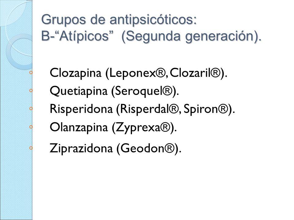 Grupos de antipsicóticos: B- Atípicos (Segunda generación).