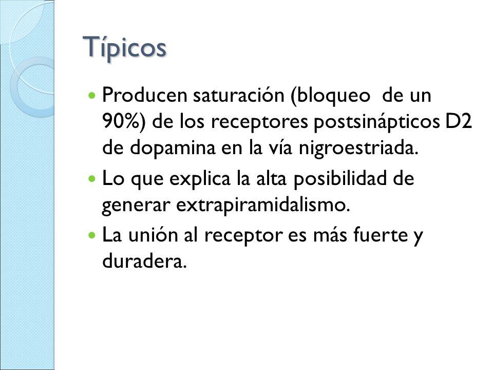 Típicos Producen saturación (bloqueo de un 90%) de los receptores postsinápticos D2 de dopamina en la vía nigroestriada.