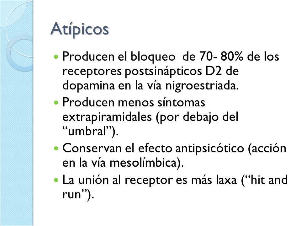 Atípicos Producen el bloqueo de 70- 80% de los receptores postsinápticos D2 de dopamina en la vía nigroestriada.