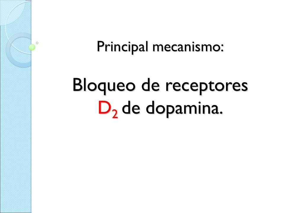 Principal mecanismo: Bloqueo de receptores D2 de dopamina.
