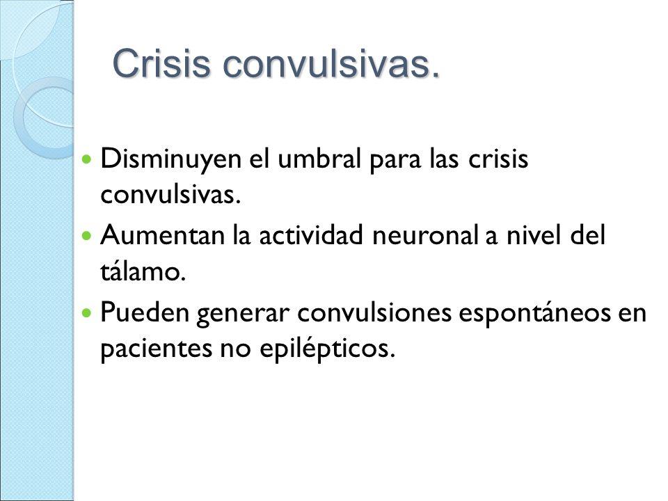 Crisis convulsivas. Disminuyen el umbral para las crisis convulsivas.
