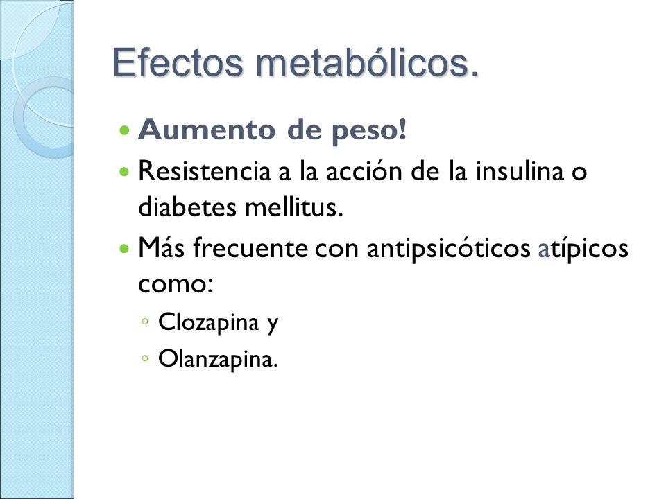 Efectos metabólicos. Aumento de peso!