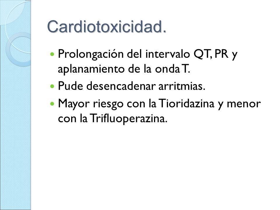 Cardiotoxicidad. Prolongación del intervalo QT, PR y aplanamiento de la onda T. Pude desencadenar arritmias.