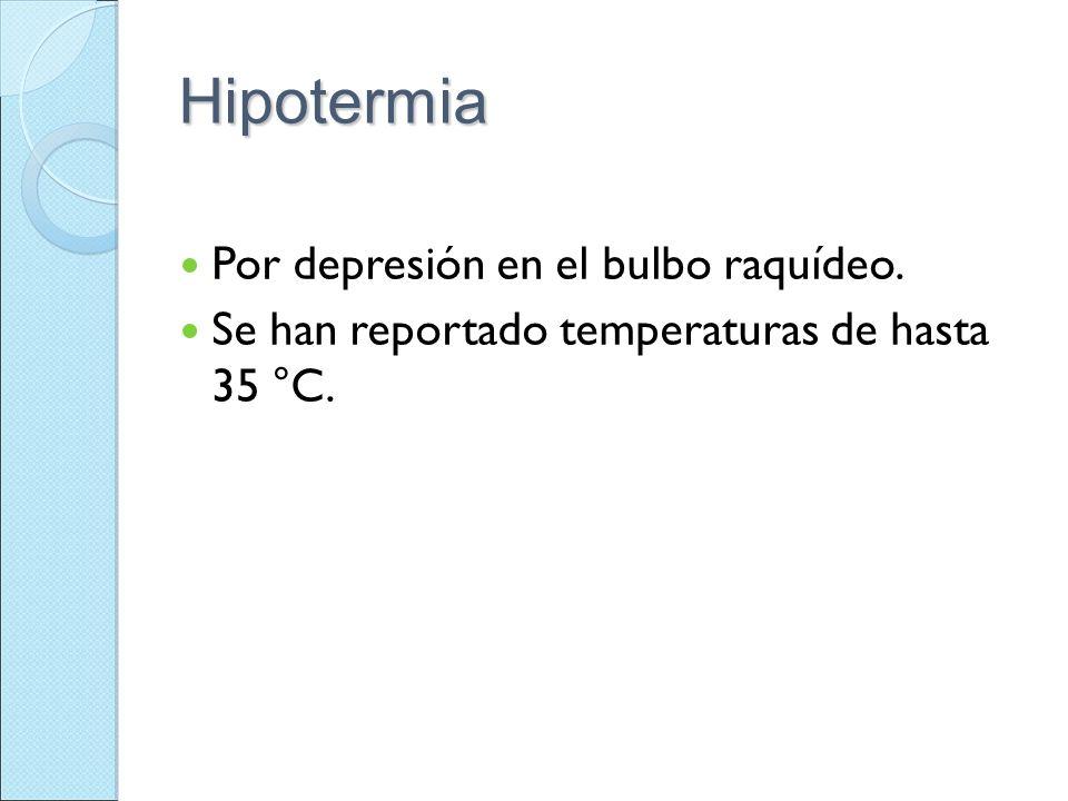 Hipotermia Por depresión en el bulbo raquídeo.