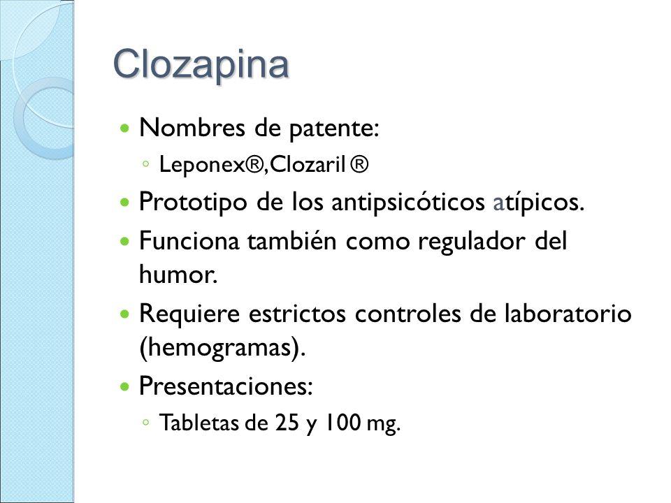 Clozapina Nombres de patente: