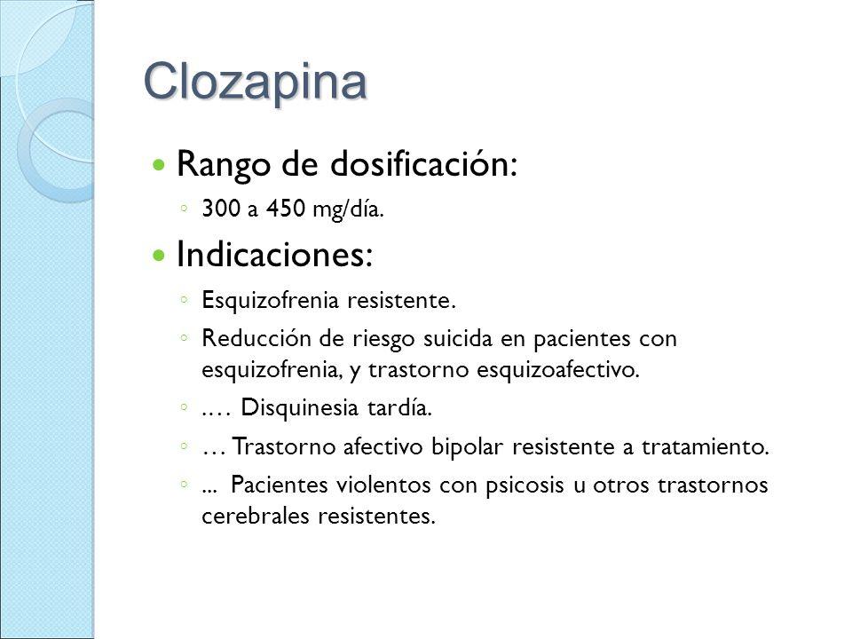 Clozapina Rango de dosificación: Indicaciones: 300 a 450 mg/día.