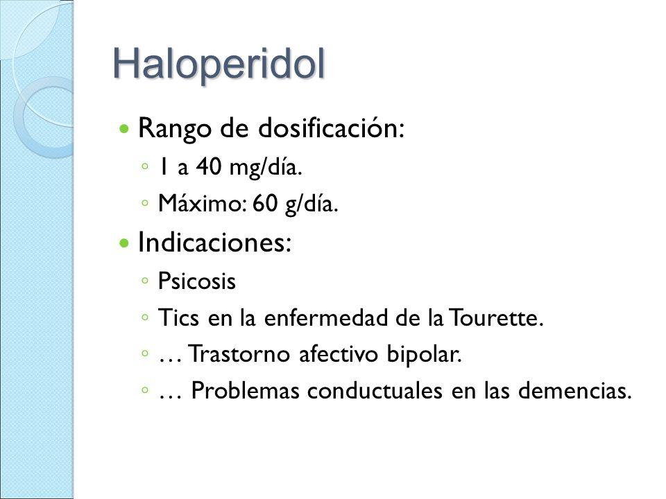 Haloperidol Rango de dosificación: Indicaciones: 1 a 40 mg/día.