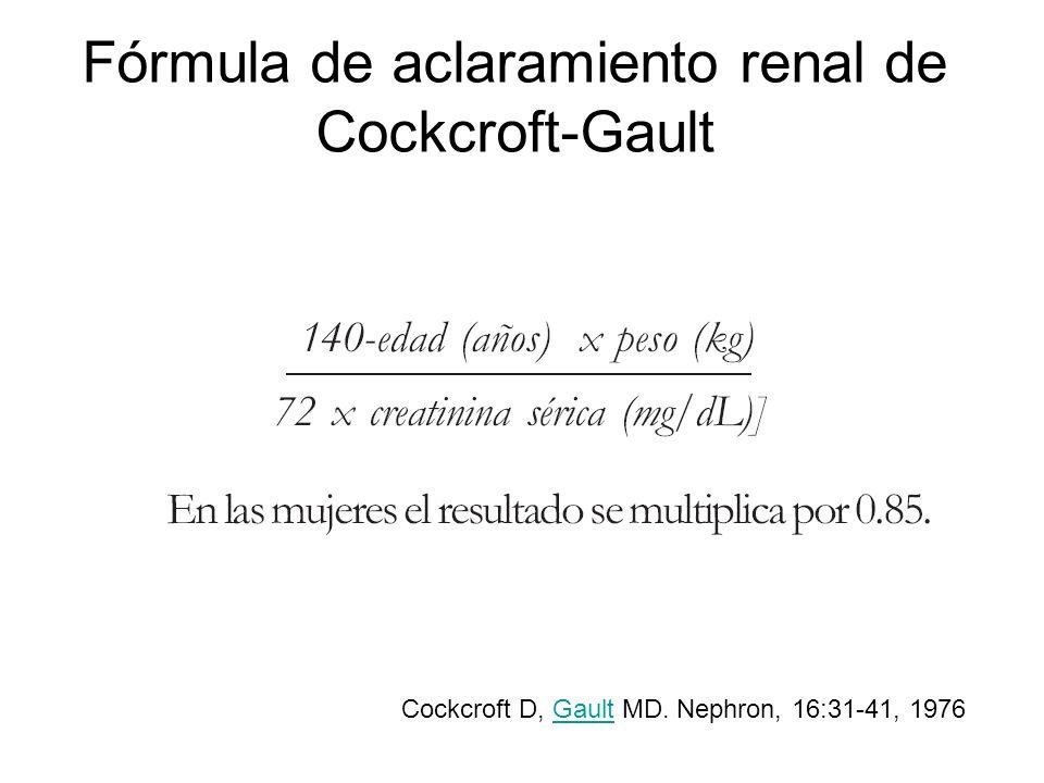 Fórmula de aclaramiento renal de Cockcroft-Gault