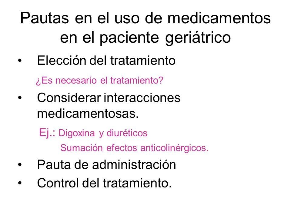 Pautas en el uso de medicamentos en el paciente geriátrico