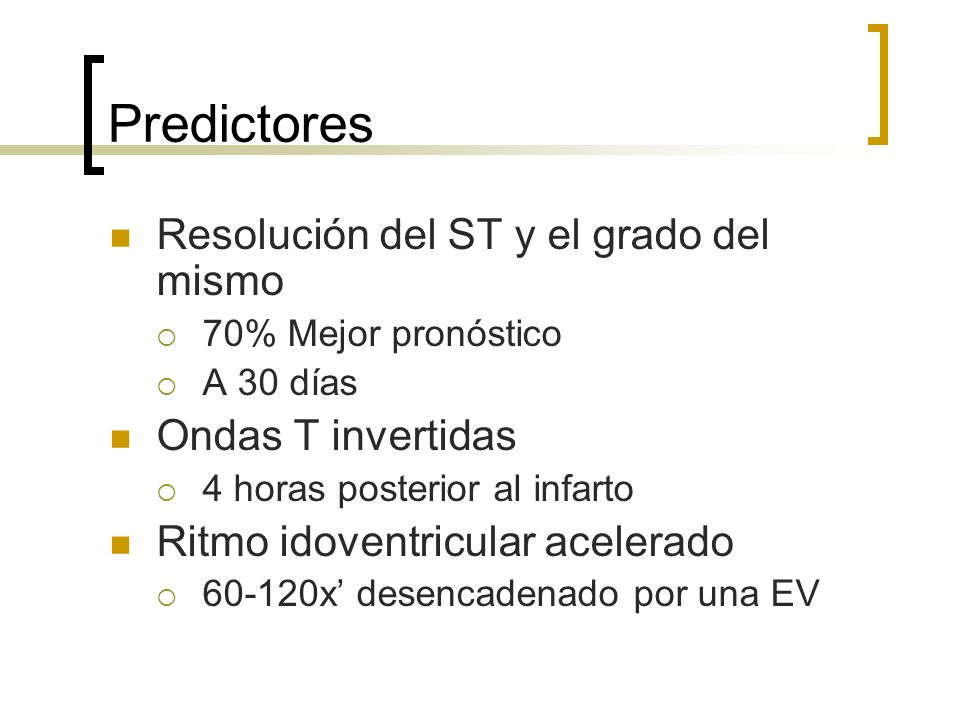 Predictores Resolución del ST y el grado del mismo Ondas T invertidas