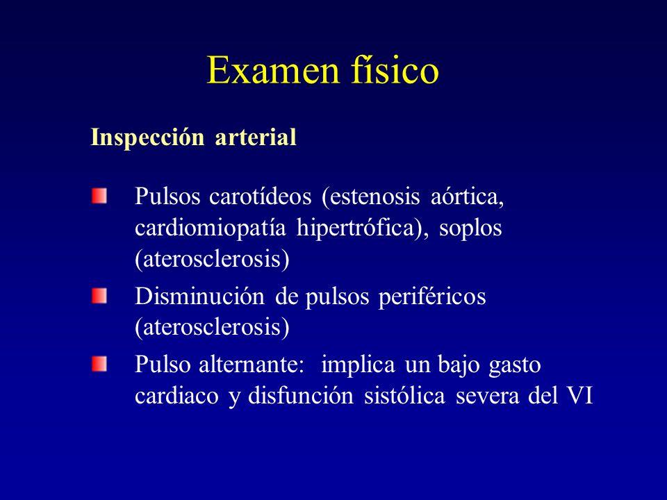 Examen físico Inspección arterial