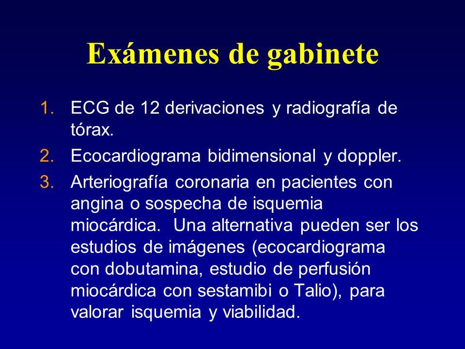 Exámenes de gabinete ECG de 12 derivaciones y radiografía de tórax.