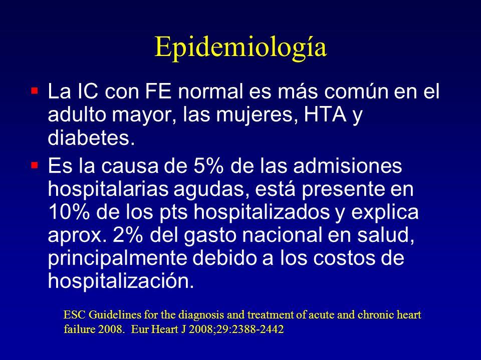 Epidemiología La IC con FE normal es más común en el adulto mayor, las mujeres, HTA y diabetes.