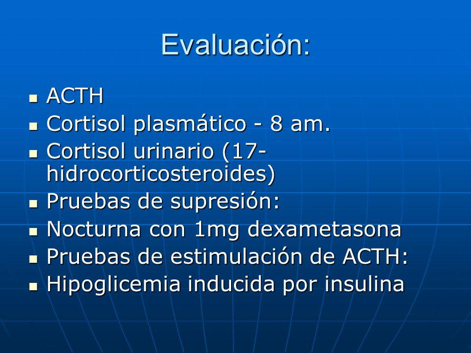 Evaluación: ACTH Cortisol plasmático - 8 am.