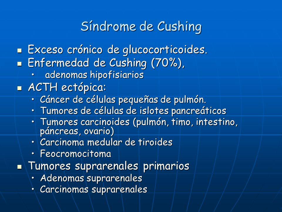 Síndrome de Cushing Exceso crónico de glucocorticoides.